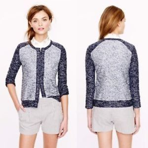 J CREW Bouclé jacket in indigo colorblock xs